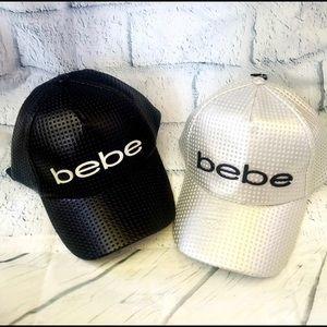 BUNDLE of 2 BEBE logo silver & black caps hats